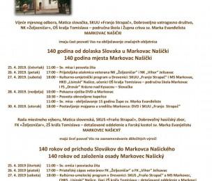 140 rokov od príchodu Slovákov do Markovca Našického